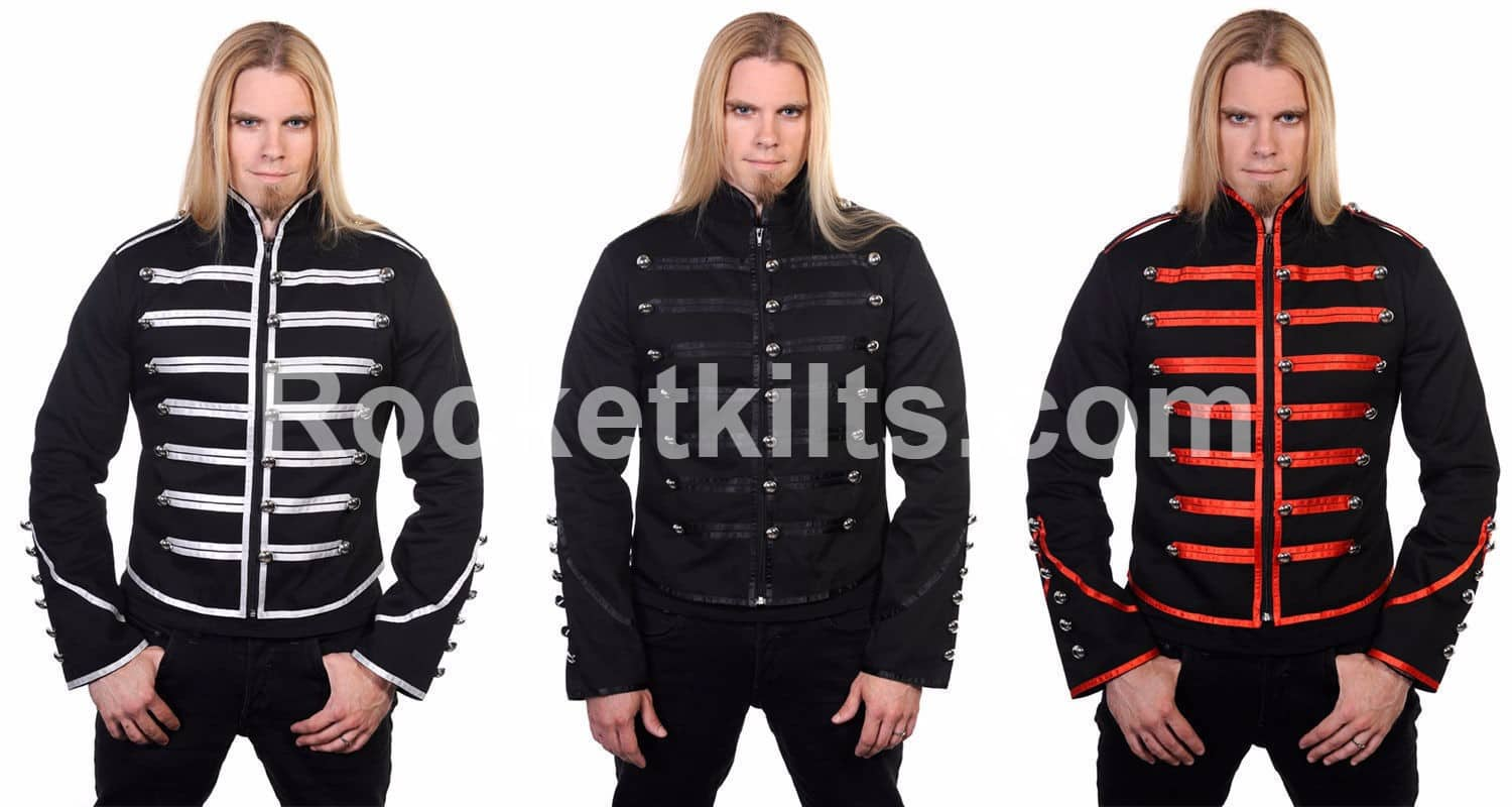 Black Banned Drummer Parade Military Jacket Men Goth Adam Ant Style Menmens Greenmilitary Mens Fashionmens